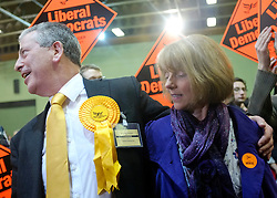 © Licensed to London News Pictures. 01/03/2013. Eastleigh, UK Liberal Democrat Mike Thornton and his wife Peta arrive at the count. Ballot boxes begin to arrive at the count centre at  Fleming Park Leisure Centre in Eastleigh this evening. The voters of Eastleigh vote to choose a new MP in a by-election prompted by the resignation of former Lib Dem cabinet minister Chris Huhne. Polling will continued 22:00 GMT 28/02/13, with votes counted overnight on Thursday. There are 14 candidates in total on the ballot papers.. Photo credit : Stephen Simpson/LNP