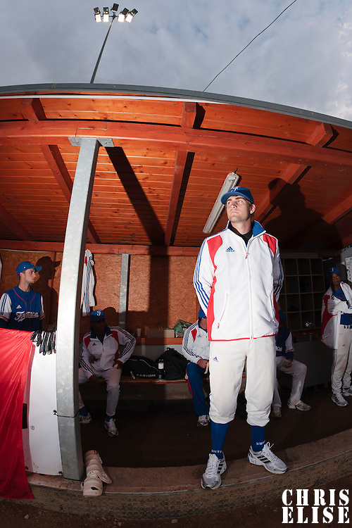 17 August 2010: Thomas Dourlens of Team France is seen in the dugout during the Czech Republic 4-3 win over France, at the 2010 European Championship, under 21, in Brno, Czech Republic.