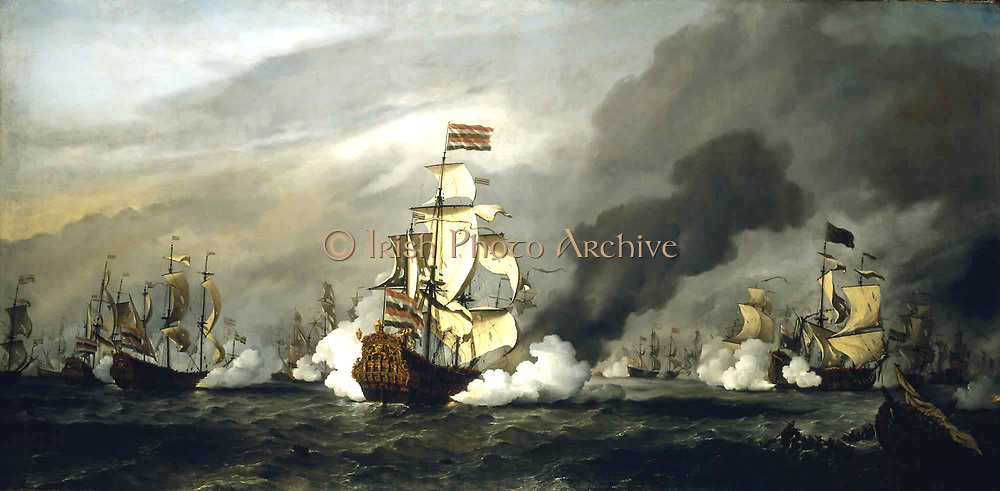 The 'Gouden Leeuw' at the Battle of the Texel  1673 'By .V.Velde dated  1687