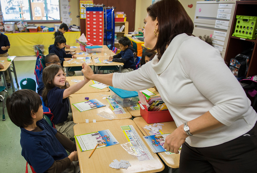 Second grade students in Mrs. Makhlouf's class at Walnut Bend Elementary, December 11, 2012, in Houston.