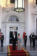 US President  George W. Bush and US First Lady Laura Bush on  the North Portico of the White House to welcome Poland's President Aleksander Kwasniewski and his wife Jolanta for a State Dinner 17 July 2002 in <br /> Photo by Dennis Brack