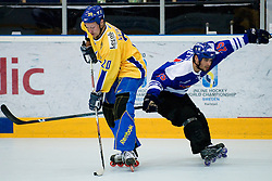 Marcus Weinstock of Sweden vs. Camilo Miettinen of Finland at Game 12 of IIHF In-Line Hockey World Championships Top Division Group match between National teams of Sweden and Finland on June 30, 2010, in Karlstad, Sweden. (Photo by Matic Klansek Velej / Sportida)