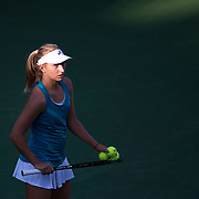 August 30, 2017 - New York, NY : Daria Gavrilova, in blue, pauses as she competes against Allie Kiick, not visible,  in the Grandstand on the third day of the U.S. Open, at the USTA Billie Jean King National Tennis Center in Queens, New York, on Wednesday. <br /> CREDIT : Karsten Moran for The New York Times