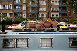 UK ENGLAND LONDON 30APR16 - Detail of items on top of London Canal boats near Haggerston, east London.<br /> <br /> jre/Photo by Jiri Rezac<br /> <br /> © Jiri Rezac 2016
