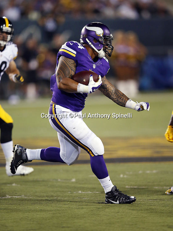 Minnesota Vikings running back Matt Asiata (44) runs the ball in the second quarter during the 2015 NFL Pro Football Hall of Fame preseason football game against the Pittsburgh Steelers on Sunday, Aug. 9, 2015 in Canton, Ohio. The Vikings won the game 14-3. (©Paul Anthony Spinelli)