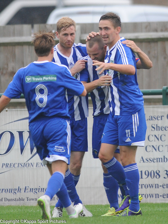 Dunstable Celebrate Their First Goal, Dunstable Town  v Chippenham Town,S Southern League Premier Div, Greasex Park, Dunstable Saturday 20th September 2014