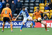 Wolverhampton Wanderers midfielder Conor Coady and Blackburn Rovers midfielder Jordi Gomez battle for the ball 0-0 during the Sky Bet Championship match between Wolverhampton Wanderers and Blackburn Rovers at Molineux, Wolverhampton, England on 9 April 2016. Photo by Alan Franklin.