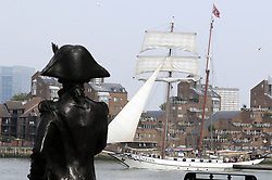 © Licensed to London News Pictures. 05/09/2014<br /> Nelson watching over the Tall ships at Park Row,Greenwich.<br /> The Tall Ships festival 2014  starts today, marking the beginning of a week-long festival filled with wonderful displays on the River Thames at Greenwich.<br /> <br /> (Byline:Grant Falvey/LNP)