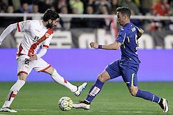 01.04.2016, Estadio de Vallecas, Madrid, ESP, Primera Division, Rayo Vallecano vs Getafe CF, 31. Runde, im Bild Rayo Vallecano's Jose Angel Crespo (l) and Getafe's Alvaro Vazquez // during the Spanish Primera Division 31th round match between Rayo Vallecano and Getafe CF at the Estadio de Vallecas in Madrid, Spain on 2016/04/01. EXPA Pictures © 2016, PhotoCredit: EXPA/ Alterphotos/ Acero<br /> <br /> *****ATTENTION - OUT of ESP, SUI*****