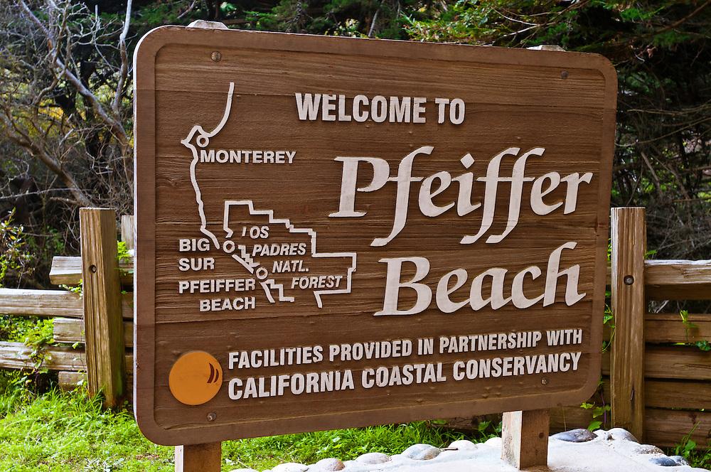 Sign at Pfeiffer Beach, Big Sur, California
