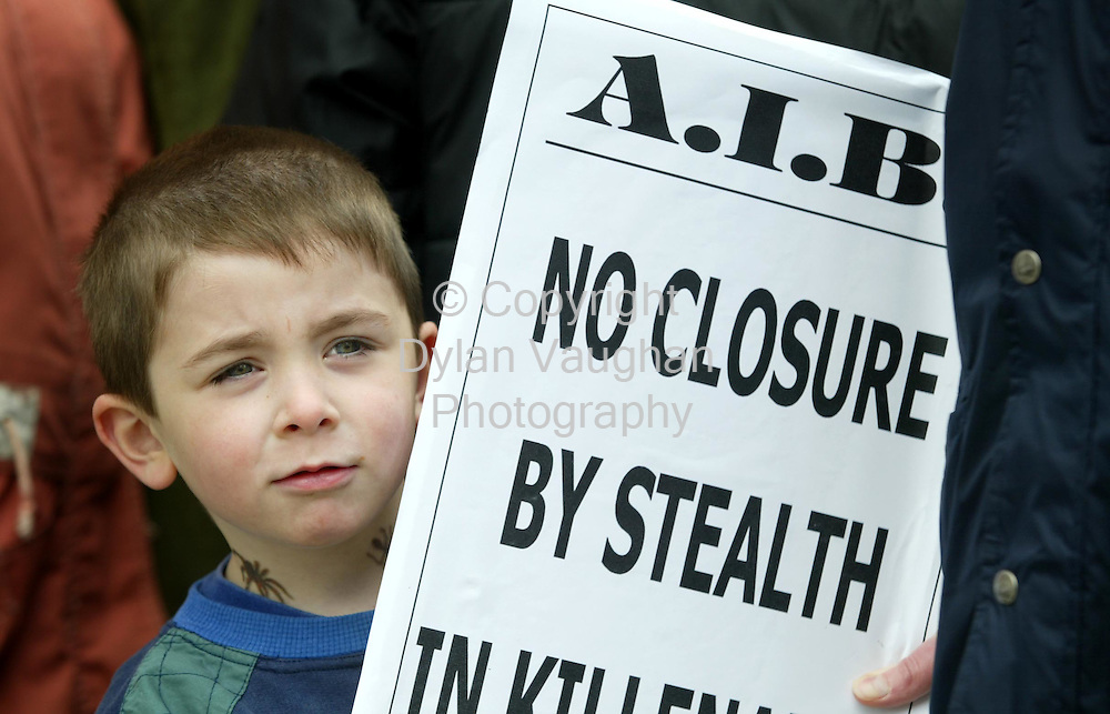 18/6/2002 Irish Times.Pictured yesterday at the protest outside the Allied Irish Bank in Killenaule County Tipperary was Harry Tobin aged 4 from Killenaule..Picture Dylan Vaughan