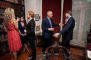 JAMES FOX; MARK GETTY, Freud Museum dinner, Maresfield Gardens. 16 June 2011. <br /> <br />  , -DO NOT ARCHIVE-© Copyright Photograph by Dafydd Jones. 248 Clapham Rd. London SW9 0PZ. Tel 0207 820 0771. www.dafjones.com.