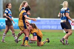 Sarah Bern of Bristol Ladies celebrates scoring a try with Clara Nielson of Bristol Ladies - Mandatory by-line: Dougie Allward/JMP - 11/12/2016 - RUGBY - Cleve RFC - Bristol, England - Bristol Ladies v Darlington Mowden Park Ladies - RFU Women's Premiership