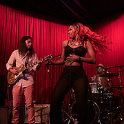 ORI NAFTALY (L) and TIERINII JACKSON of Southern Avenue perform at Hotel Cafe in Los Angeles, California.