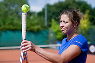Tennis player Malgorzata Kowalska competes in 29th Polish National Championships in Amateur Tennis on Warszawianka Courts in Warsaw, Poland.<br /> <br /> Poland, Warsaw, July 17, 2013<br /> <br /> Picture also available in RAW (NEF) or TIFF format on special request.<br /> <br /> For editorial use only. Any commercial or promotional use requires permission.<br /> <br /> Photo by © Adam Nurkiewicz / Mediasport
