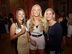 CARDIFF, WALES - Monday, October 5, 2015: Wales' Loren Dykes, Sophie Ingle and Kylie Davies during the FAW Awards Dinner Dinner at Cardiff City Hall. (Pic by David Rawcliffe/Propaganda)