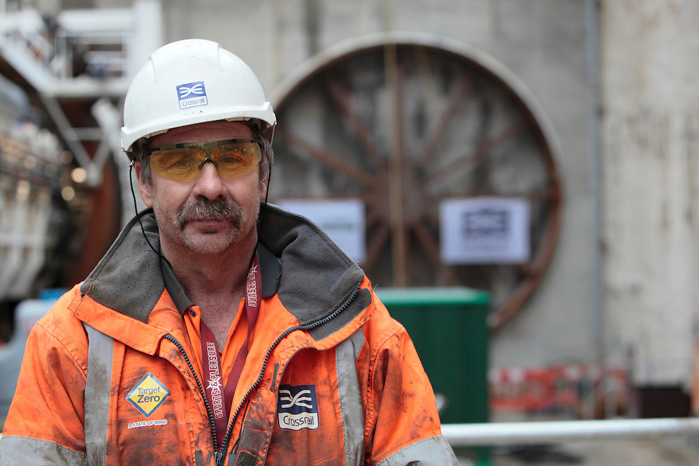 Construction worker at the Plumstead site of London's Crossrail project as the tunnel boring machines begin excavations beneath the River Thames