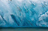 An iceberg, recently calved from Dawes Glacier in the Tracy Arm - Fords Terror Wilderness of the Tongass National Forest, exhibits brilliant striations of blue ice created by tremendous pressure.  Southeast.  Inside Passage.  Summer. Morning.