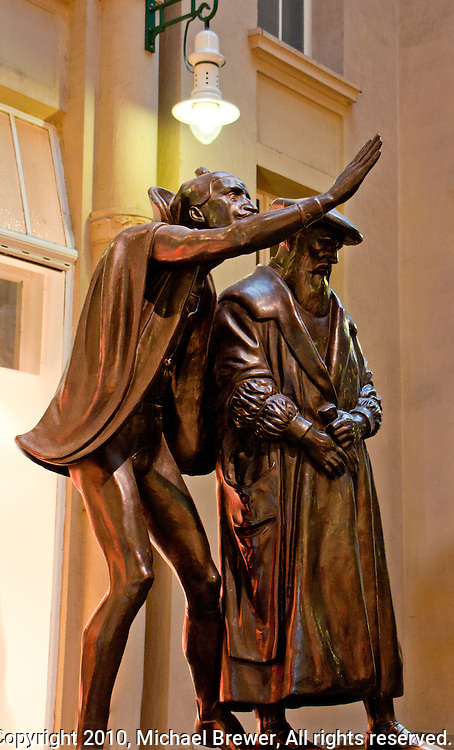 Mephistopheles and Faust bronze statue near Auerbach's Cellar in Leipzig Germany.