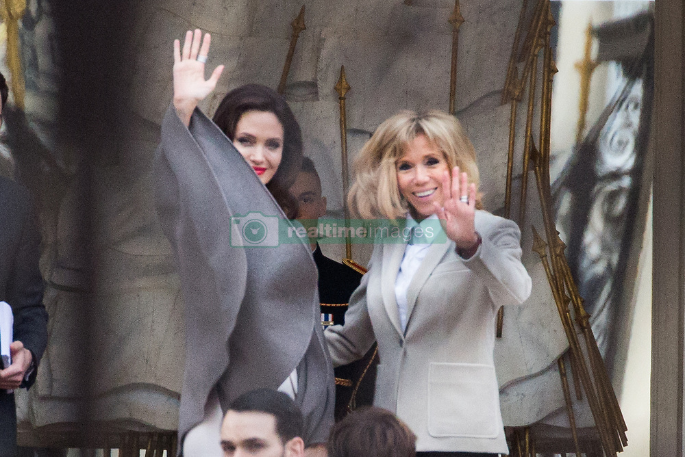Brigitte Macron welcomes actress Angelina Jolie at Elysee Palace in Paris, France on January 29, 2018. Photo by ABACAPRESS.COM