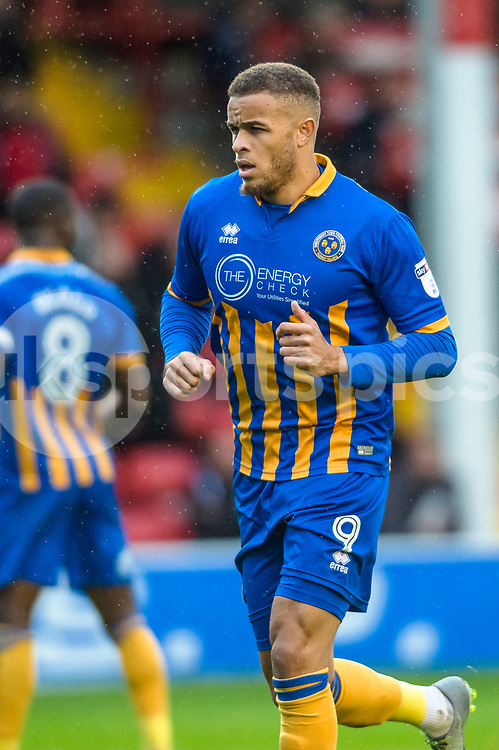 Carlton Morris of Shrewsbury Town in action during the EFL Sky Bet League 1 match between Walsall and Shrewsbury Town at the Banks's Stadium, Walsall, England on 7 October 2017. Photo by Darren Musgrove.