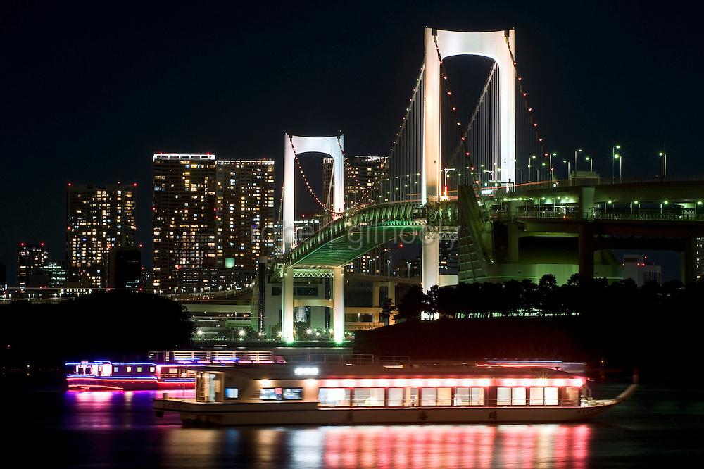 """Yakata-bune"" pleasure boats set anchor on the placid waters of Tokyo Bay in Tokyo, Japan on 03 November  2010. .Photographer: Robert Gilhooly"