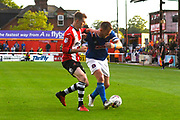 Jack Stacey (28) of Exeter City battles for possession with Danny Grainger (3) of Carlisle United during the EFL Sky Bet League 2 play off second leg match between Exeter City and Carlisle United at St James' Park, Exeter, England on 18 May 2017. Photo by Graham Hunt.