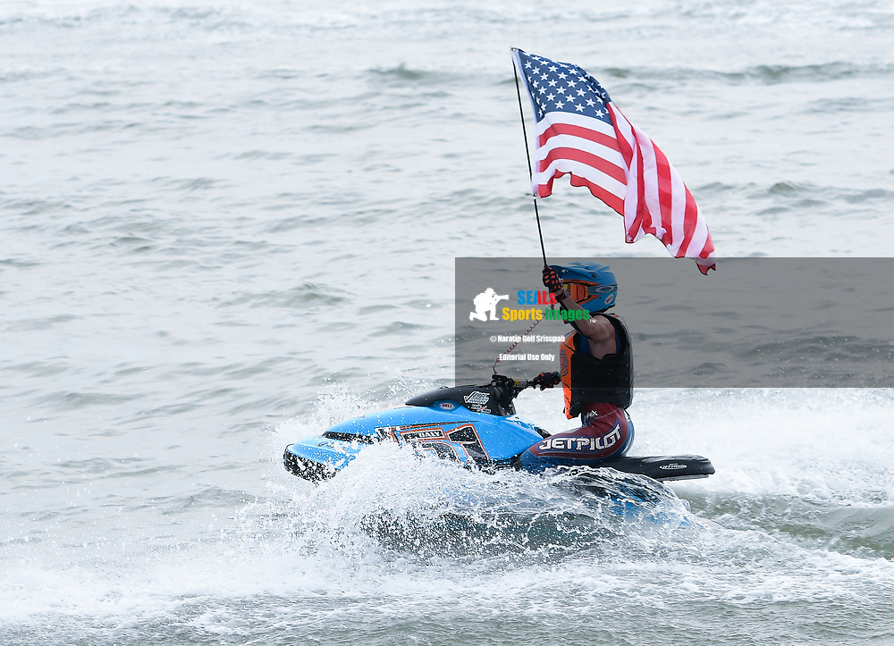 PATTAYA, THAILAND - DECEMBER 09: Christian Daly of USA celebrate after taking the checker flag during the Moto4 at the Thai Airways International Jet Ski World Cup 2018, Jomtien Beach, Pattaya, Thailand on December 09, 2018. <br /> .<br /> .<br /> .<br /> (Photo by: Naratip Golf Srisupab/SEALs Sports Images)<br /> .<br /> Any image use must include a mandatory credit line adjacent to the content which should read: Naratip Golf Srisupab/SEALs Sports Images