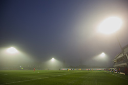 NEWPORT, WALES - Sunday, November 1, 2015: Fog surrounds the floodlights during the Under-16's Victory Shield International match between Wales and Scotland at Dragon Park. (Pic by David Rawcliffe/Propaganda)