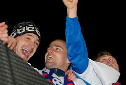 Milivoje Novakovic and Miso Brecko of Slovenia  celebrate after  FIFA World Cup South Africa 2010 Qualifying Second Play off match between Slovenia and Russia, on November 18, 2009, in Stadium Ljudski vrt, Maribor, Slovenia. Slovenia won 1:0 and qualified for the FIFA World Championships 2010. (Photo by Vid Ponikvar / Sportida)