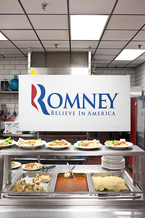 Plates of spaghetti are ready to be served before Republican presidential candidate Mitt Romney arrives to host a spaghetti dinner on Friday, January 6, 2012 in Tilton, NH.