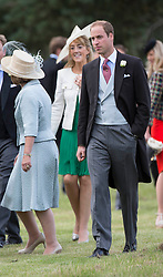 Prince William attends  the wedding of James Meade and Lady Marsham the daughter of Earl of Romney in Gayton, Norfolk, United Kingdom. Saturday, 14th September 2013. Picture by i-Images