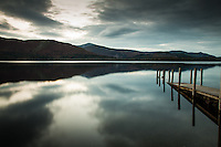 A jetty on Derwent Water in Borrowdale Valley. English Lake District