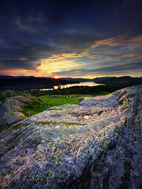 Sunset over Windermere from the summit of Brantfell, Bowness on Windermere, Cumbria.