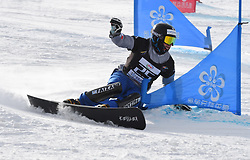 ZHANGJIAKOU, Feb. 24, 2019  Daniele Bagozza of Italy competes during the men's Parallel Slalom final of FIS Snowboard World Cup 2018-2019 in Zhangjiakou of north China's Hebei Province, on Feb. 24, 2019. Daniele Bagozza won the first. (Credit Image: © Xinhua via ZUMA Wire)