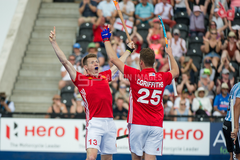 England's Sam Ward celebrates scoring with Chris Griffiths. England v Argentina - Hockey World League Semi Final, Lee Valley Hockey and Tennis Centre, London, United Kingdom on 18 June 2017. Photo: Simon Parker