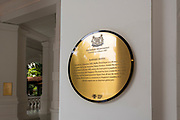 National monument sign at the Raffles Hotel, Singapore, Republic of Singapore