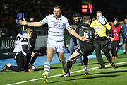 Cardiff Blues winger Owen Lane (14) cannot believe the attack has ended and he did not receive the ball during the Heineken Champions Cup match between Glasgow Warriors and Cardiff Blues at Scotstoun Stadium, Glasgow, Scotland on 13 January 2019.