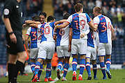 Craig Conway of Blackburn Rovers celebrates scoring the first goal of the game to make it 1-0 with his team mates during the EFL Sky Bet Championship match between Blackburn Rovers and Burton Albion at Ewood Park, Blackburn, England on 20 August 2016. Photo by Simon Brady.