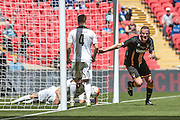 Christopher Swailes (Morpeth Town) turns to celebrate scoring against Hereford and equalising. 1-1 during the FA Vase match between Hereford and Morpeth Town at Wembley Stadium, London, England on 22 May 2016. Photo by Mark Doherty.
