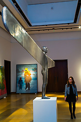 London, September 29 2017. Antony Gormley's 'A Case For an Angel', estimated to fetch between £5-7million, dominates the gallery space at Christie's ahead of their Post War and Contemporary Art Sale in London on 6th October 2017. © Paul Davey