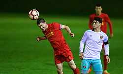 KIRKBY, ENGLAND - Friday, March 31, 2017: Liverpool's captain Liam Coyle in action against West Ham United's Joe Powell during an Under-18 FA Premier League Merit Group A match at the Kirkby Academy. (Pic by David Rawcliffe/Propaganda)