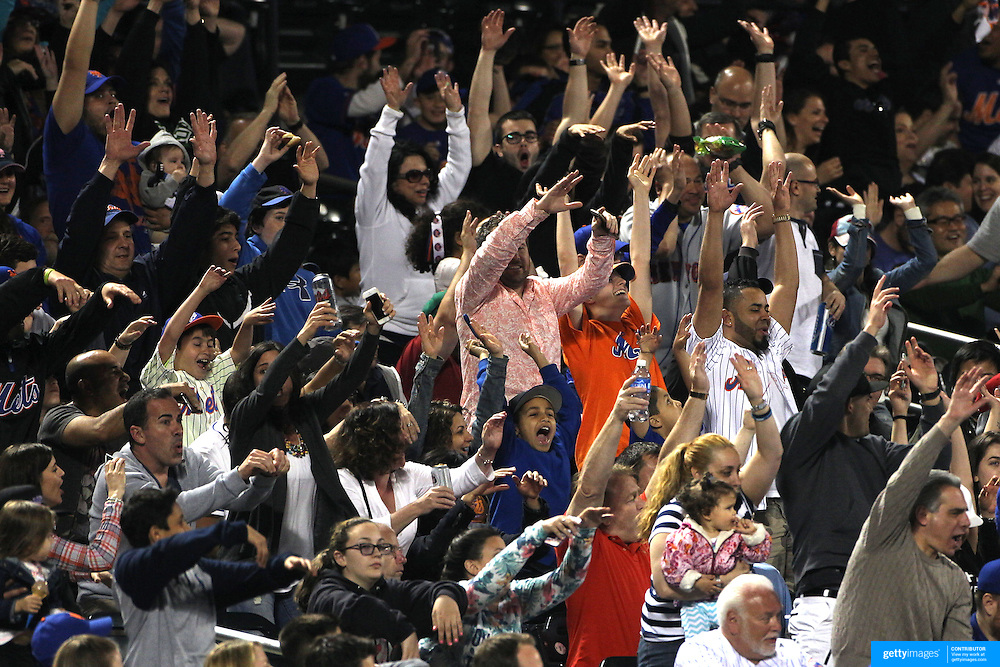 New York Mets during a Mexican wave at the New York Mets Vs Miami Marlins MLB regular season baseball game at Citi Field, Queens, New York. USA. 18th April 2015. Photo Tim Clayton