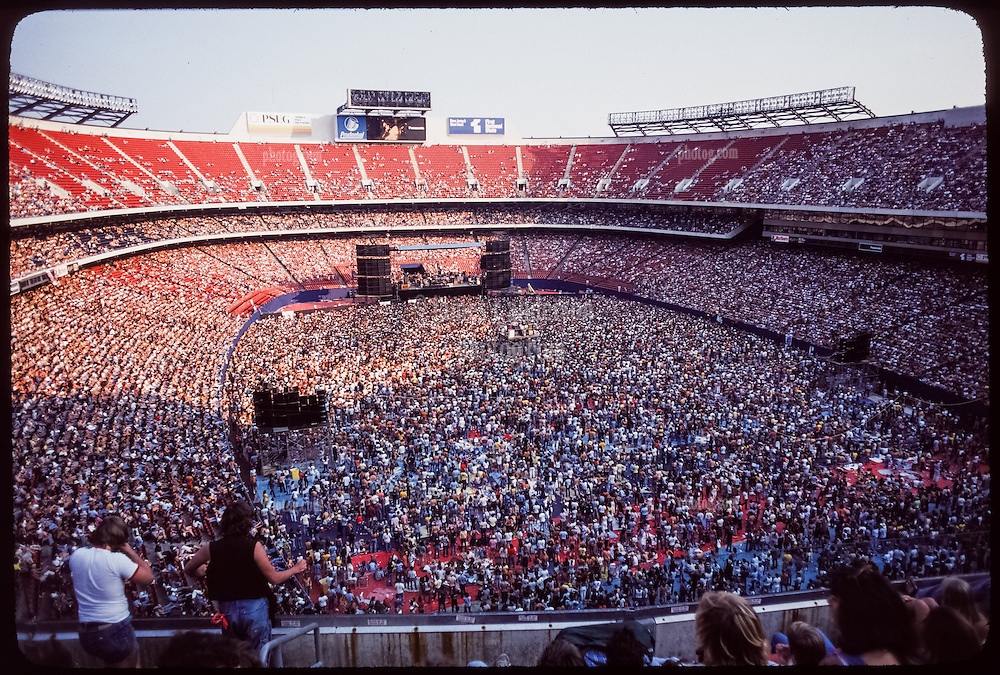 The Grateful Dead Live at Giants Stadium September 2, 1978. Long View of the Sound System, Stage, the Crowd and the Band.