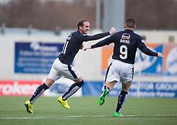 Falkirk's Mark Kerr cele scoring their second goal. <br /> half time : Falkirk 2 v 0 Alloa Athletic, Scottish Championship game played 5/3/2016 at The Falkirk Stadium.