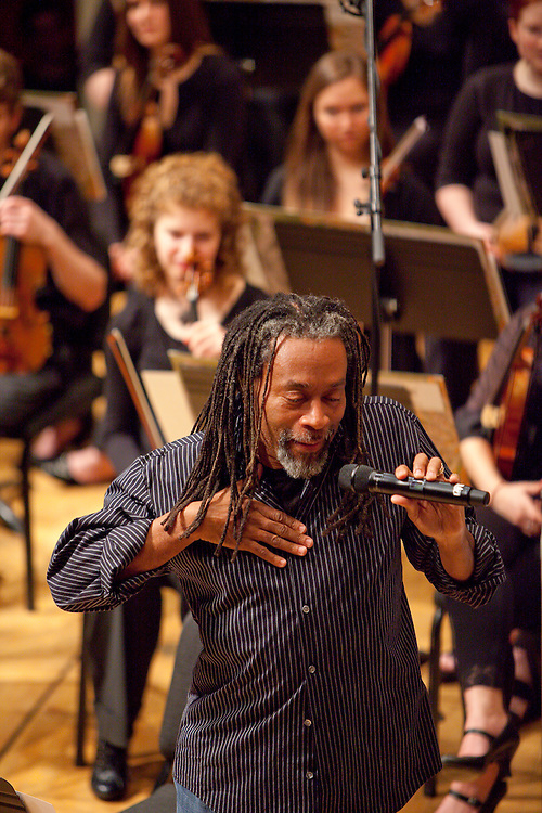 """Bobby McFerrin during a concert of  """"Migrations"""" at Lawrence University.  Photo by Mike Roemer / Mike Roemer Photography Inc."""