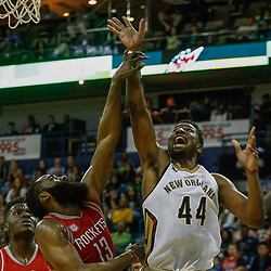 Mar 17, 2017; New Orleans, LA, USA; New Orleans Pelicans forward Solomon Hill (44) shoots over Houston Rockets guard James Harden (13) during the second half of a game at the Smoothie King Center. The Pelicans defeated the Rockets 128-112.  Mandatory Credit: Derick E. Hingle-USA TODAY Sports