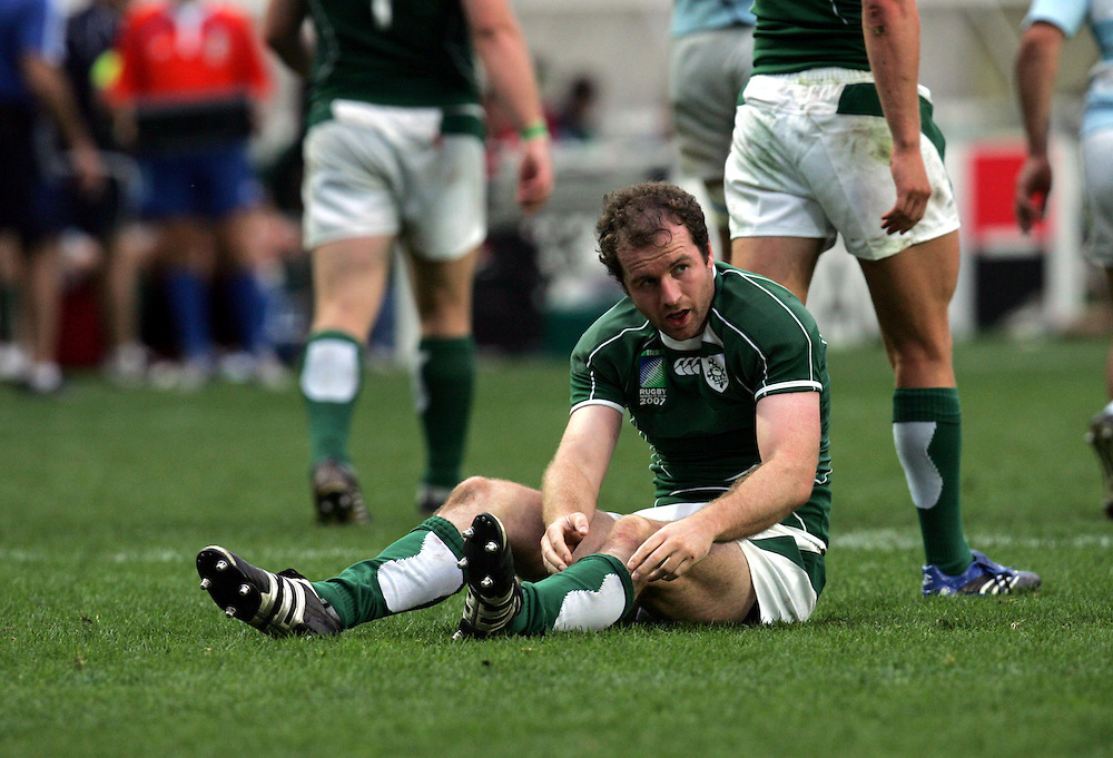 A dejected Geordan Murphy of Ireland. Ireland v Argentina, Parc Des Princes, Paris, France, 30th September 2007. Rugby World Cup 2007. ..