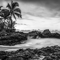 Secret Cove Beach Maui Hawaii black and white photo with Ahihi Bay and the Pacific Ocean. Also known as Wedding Beach, Pa'ako Cove, and Makena Cove, Secret Cove Beach is a popular beach in Wailea Kihei Hawaii. Copyright ⓒ 2019 Paul Velgos with All Rights Reserved.