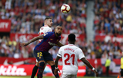 February 23, 2019 - Seville, Madrid, Spain - Arturo Vidal (FC Barcelona) and Marko Rog (Sevilla FC) are seen in action during the La Liga match between Sevilla FC and Futbol Club Barcelona at Estadio Sanchez Pizjuan in Seville, Spain. (Credit Image: © Manu Reino/SOPA Images via ZUMA Wire)